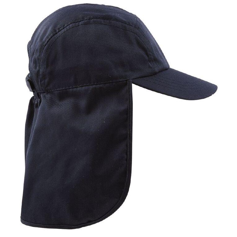 Schooltex Kids' Drill Flap Cap, Navy, hi-res