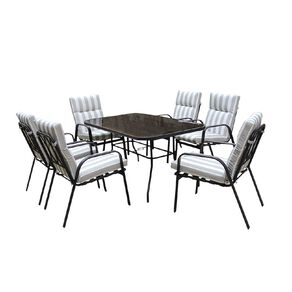 Living & Co Maui 7 Piece Dining Setting Grey One Size