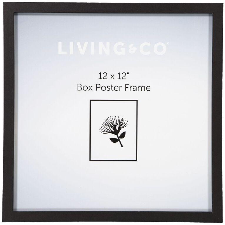 Living & Co Box Poster Frame Black 12in x 12in, Black, hi-res