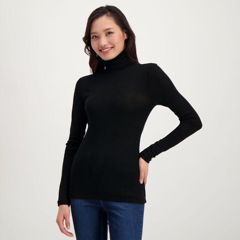 H&H Women's Merino Roll Neck, Black, hi-res