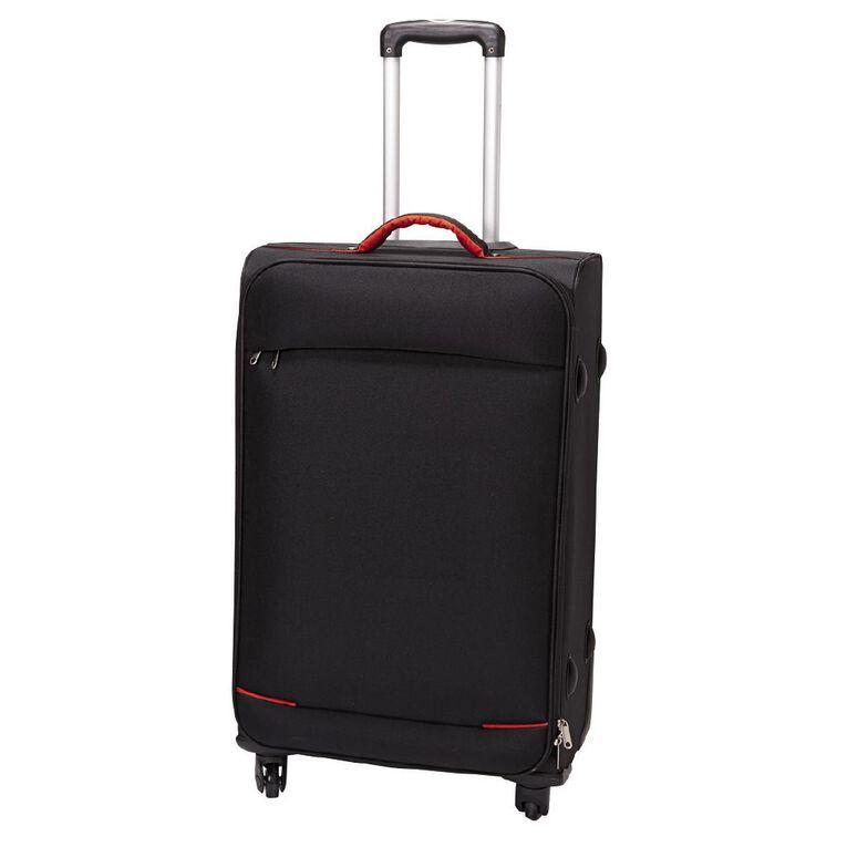Living & Co 4 Wheel Soft Suitcase, Black, hi-res
