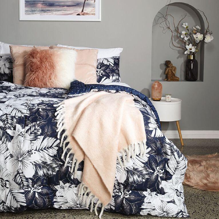 Living & Co Comforter Set 3 Piece Barbados Black/White Queen, Black/White, hi-res