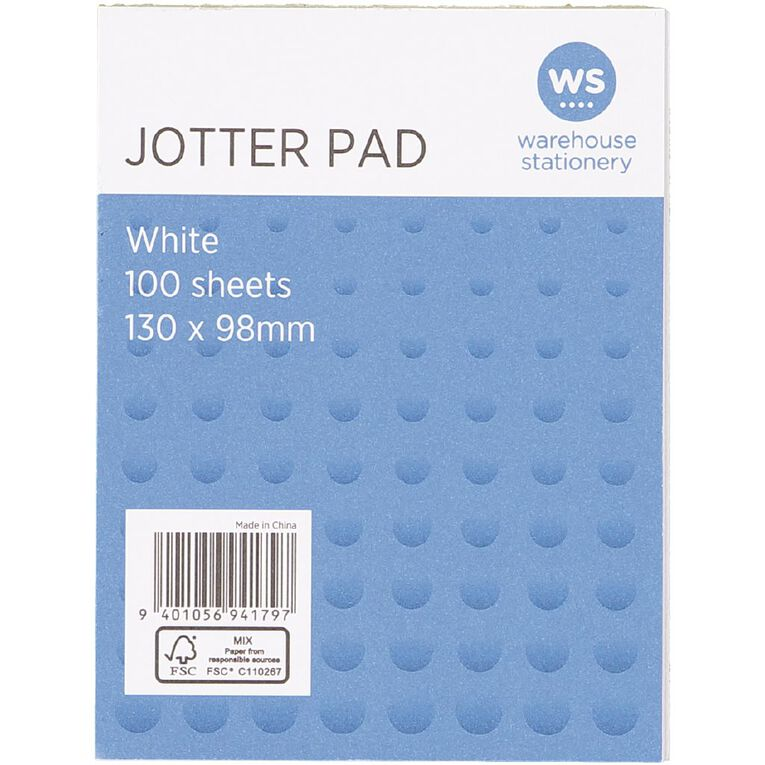 WS Jotter Pad 100 Sheets 130x98mm White, , hi-res