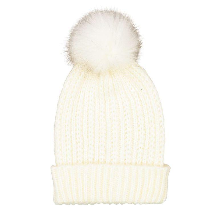 H&H Soft Knit Pom Beanie, Cream, hi-res