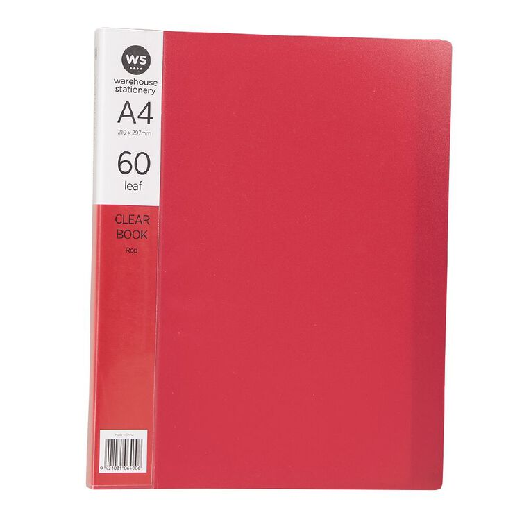 WS Clear Book 60 Leaf Red A4, , hi-res image number null