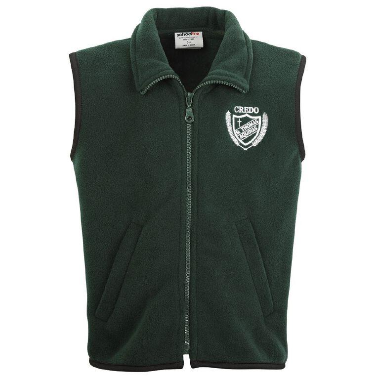 Schooltex St Thomas of Aquinas Polar Fleece Vest with Embroidery, Bottle Green, hi-res