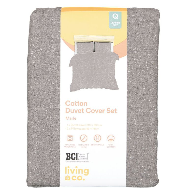 Living & Co Duvet Cover Set Brushed Cotton Marle Charcoal Queen, Charcoal, hi-res