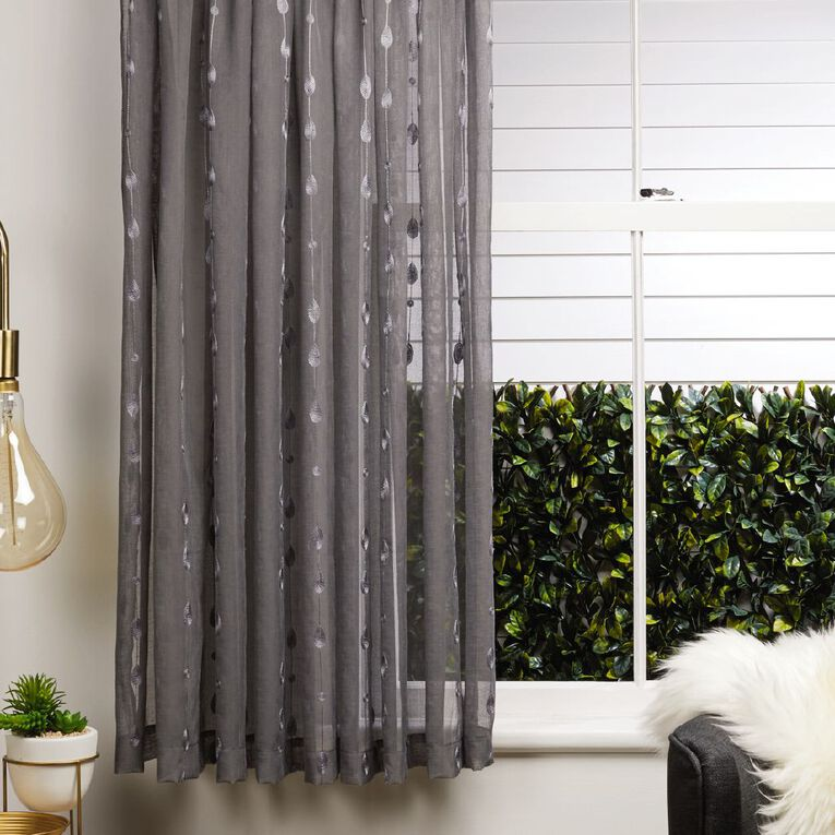 Living & Co Leaf Voile Grey 90-180cm x 160cm Drop, Grey, hi-res