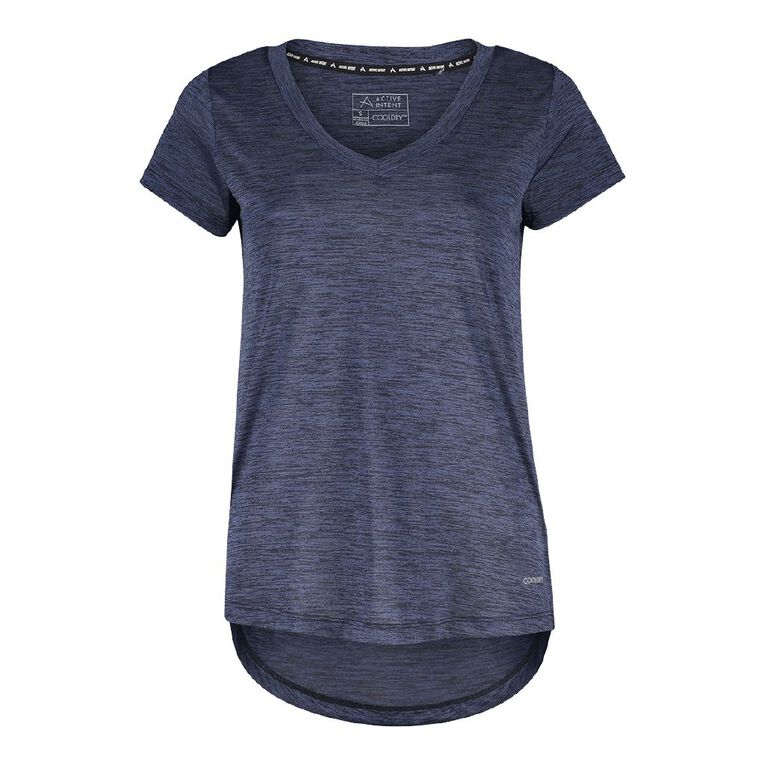 Active Intent Women's V Neck Marl Tee, Blue Dark DPO/POND, hi-res