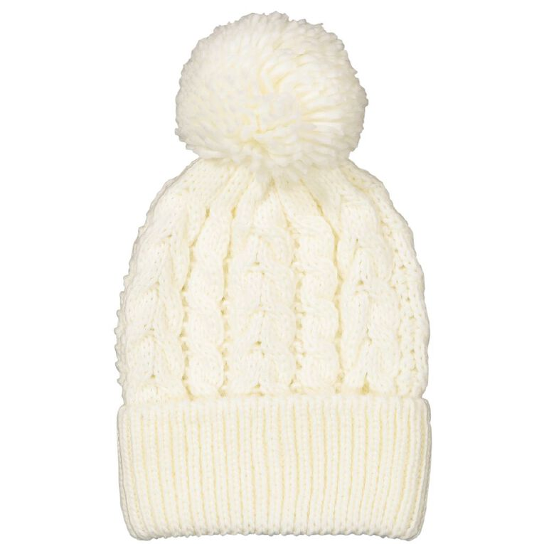 Young Original Girls' Cable Knit Beanie, White, hi-res