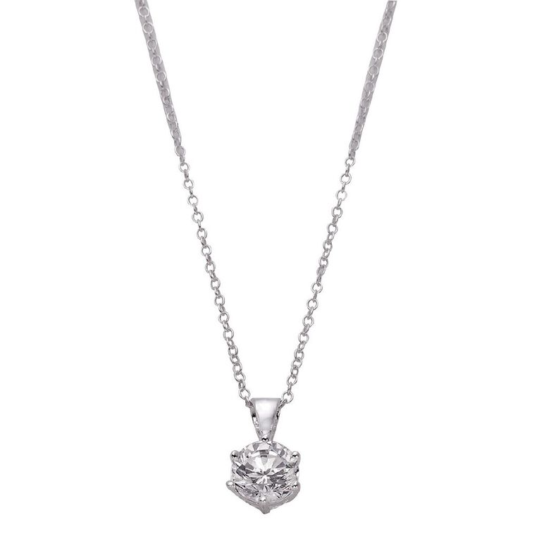 Sterling Silver White CZ 6 Claw Pendant 7mm, , hi-res