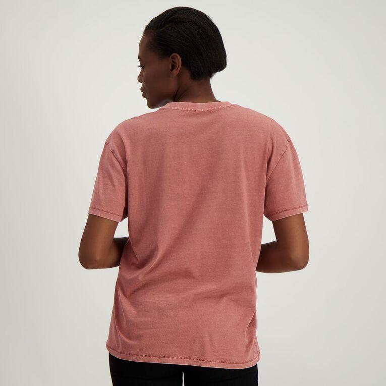 H&H Women's Acid Wash Boyfriend Pocket Tee, Pink Dark, hi-res
