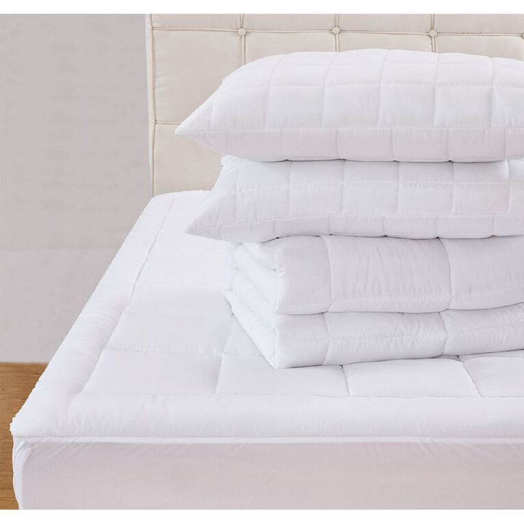 Living & Co Essentials Bed Pack Optical White Queen, White, hi-res
