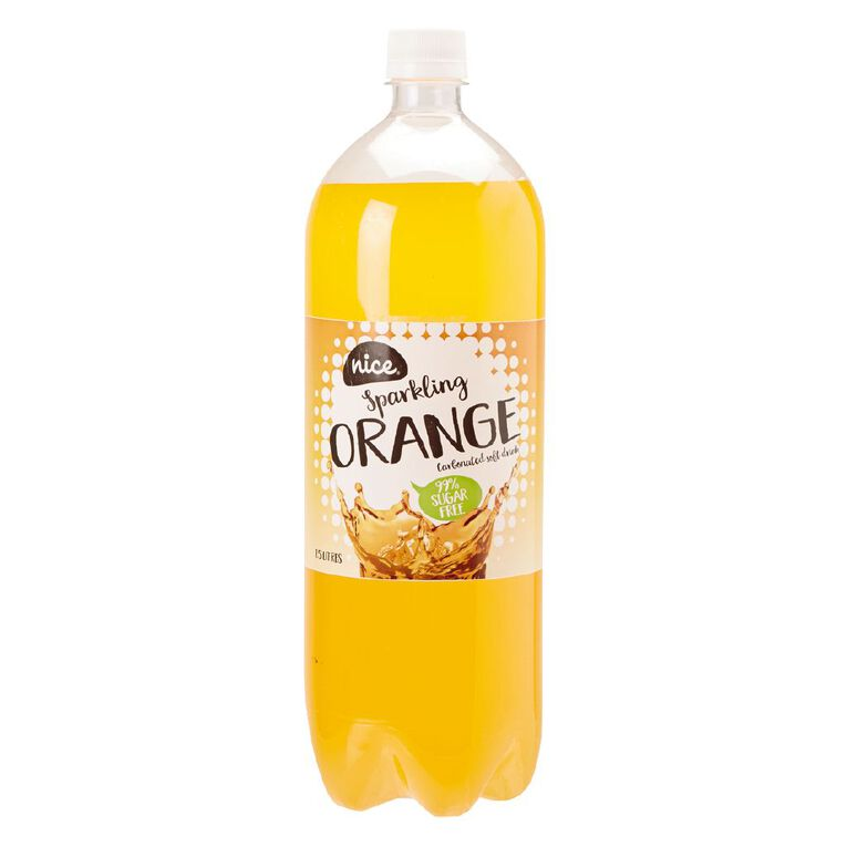 Nice 99% Sugar Free Orange Carbonated Beverage Drink 1.5L, , hi-res