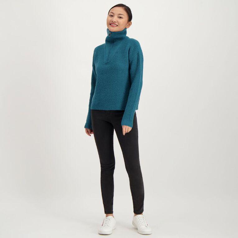 H&H Women's 1/4 Zip Jumper, Green Dark, hi-res