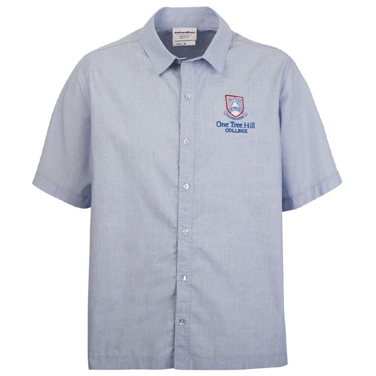 Schooltex One Tree Hill Boys' Short Sleeve Shirt with Embroidery, Sky Blue, hi-res