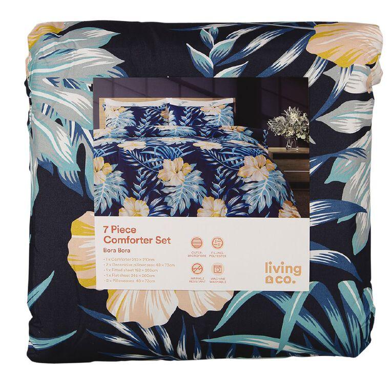 Living & Co Comforter Set 7 Piece Bora Bora Multi-Coloured King, Multi-Coloured, hi-res