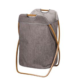 Living & Co Foldable Hamper with Bamboo Frame Natural