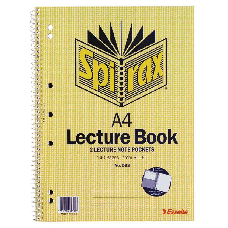 Spirax Lecture Book 7mm 70 Leaf Yellow A4, , hi-res