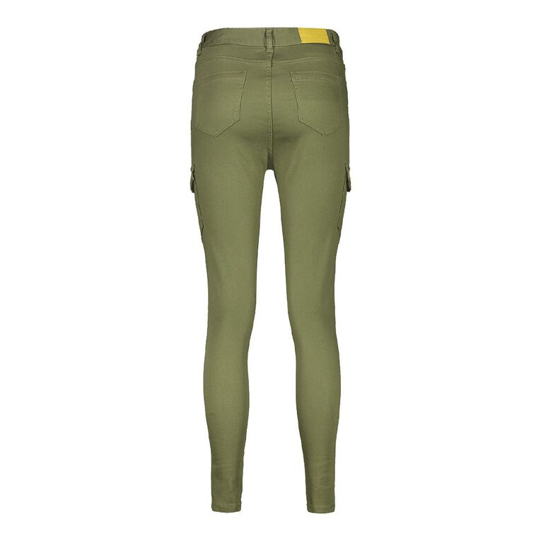 H&H Women's Zip Cargo Jeans, Khaki, hi-res