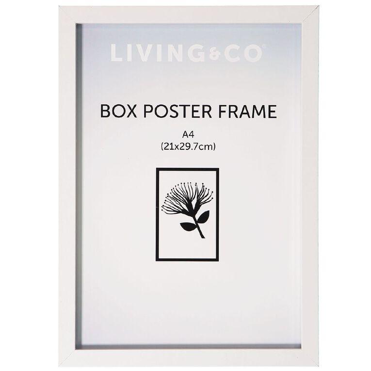 Living & Co Box Poster Frame White A4, White, hi-res