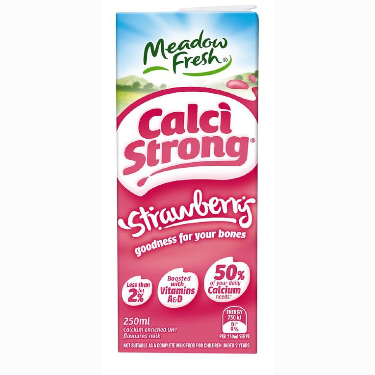 Meadow Fresh Calci Strong UHT Strawberry 250ml, , hi-res