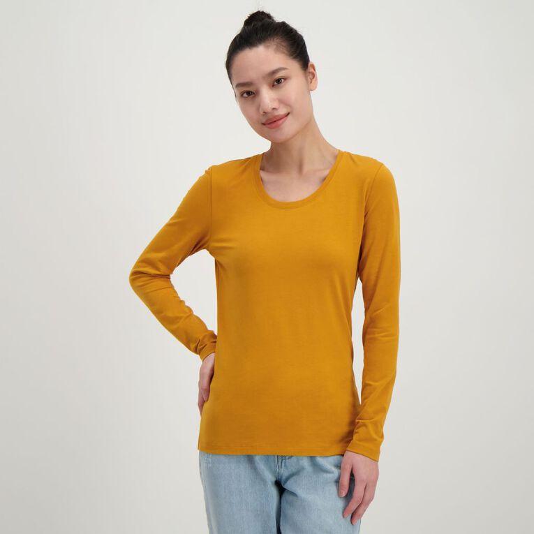 H&H Long Sleeve Scoop Neck Top, Yellow, hi-res