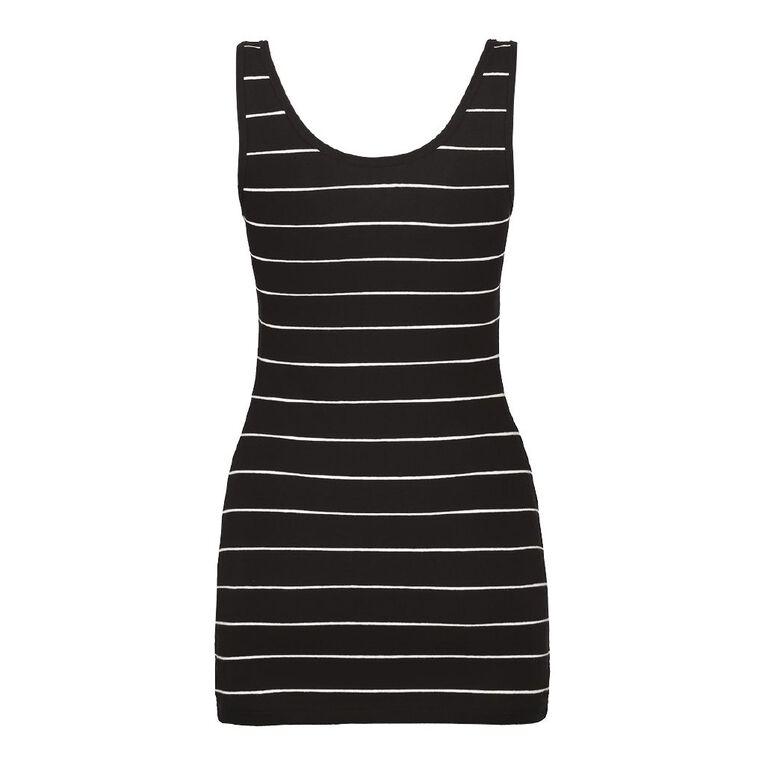 H&H Long Wide Strap Singlet, Black/White, hi-res