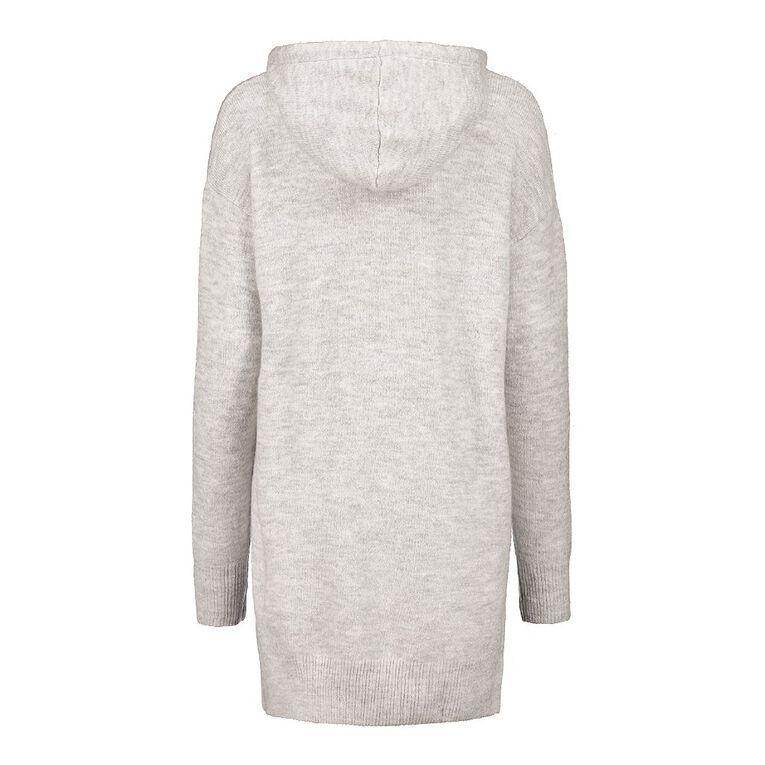 H&H Women's Longline Knit Hoodie, Grey Marle, hi-res