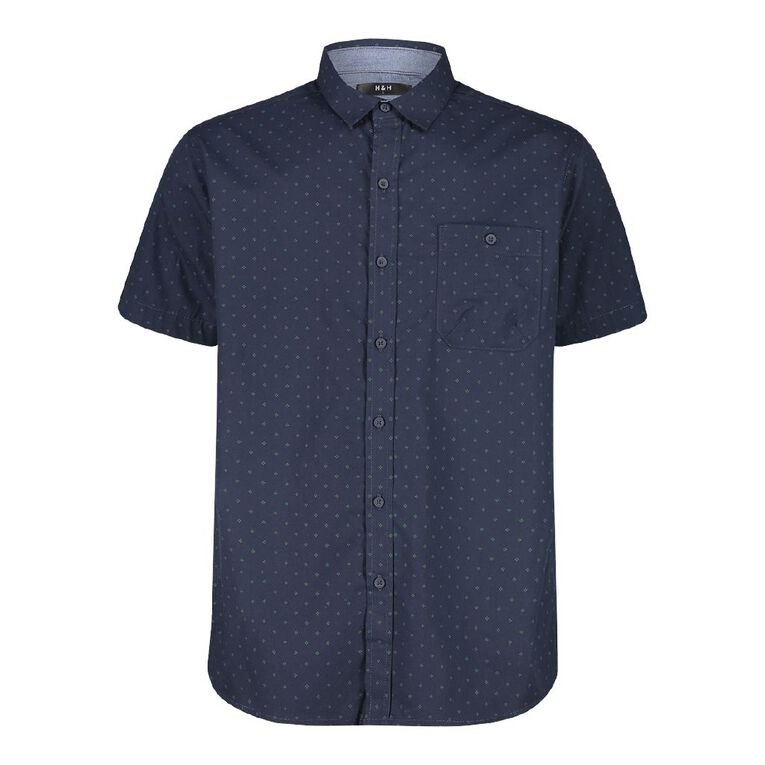 H&H Men's Chambray Trimmed All Over Print Shirt, Navy, hi-res image number null