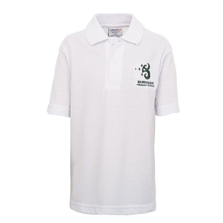 Schooltex Burnside Primary Short Sleeve Polo with Embroidery, White, hi-res