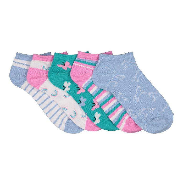 H&H Girls' Liner Socks 5 Pack, Blue Light, hi-res
