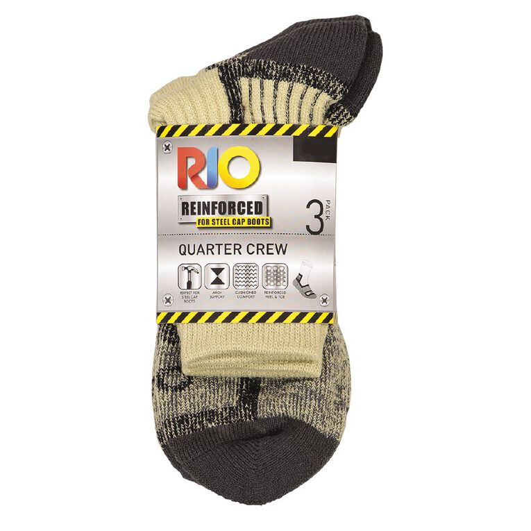 Rio Men's Quarter Crew Work Sock 3 Pack, Beige, hi-res