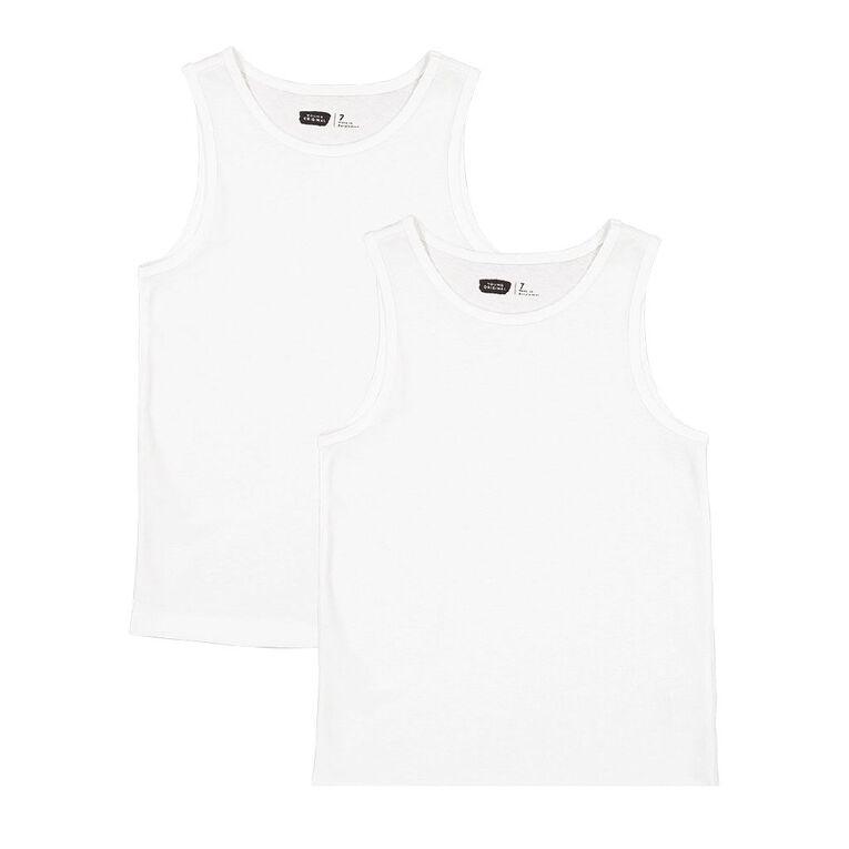Young Original 2 Pack Plain Singlet, White, hi-res