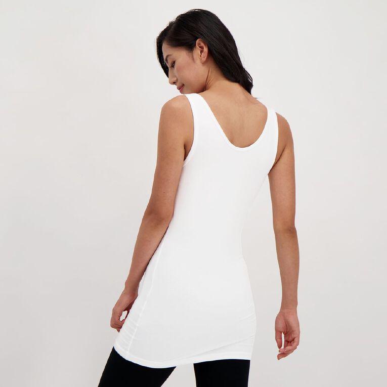 H&H Long Wide Strap Singlet, White, hi-res