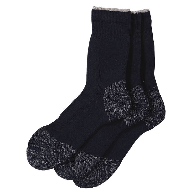 Rivet Men's Steelcap Work Socks 3 Pack, Navy, hi-res