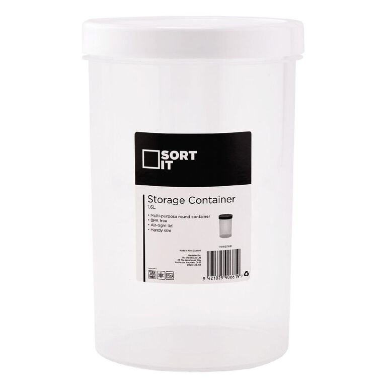 Living & Co Storage Container Round Assorted 1.6L, , hi-res