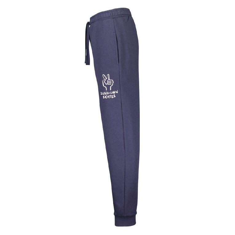 Young Original Print Leg Trackpants, Blue Light, hi-res