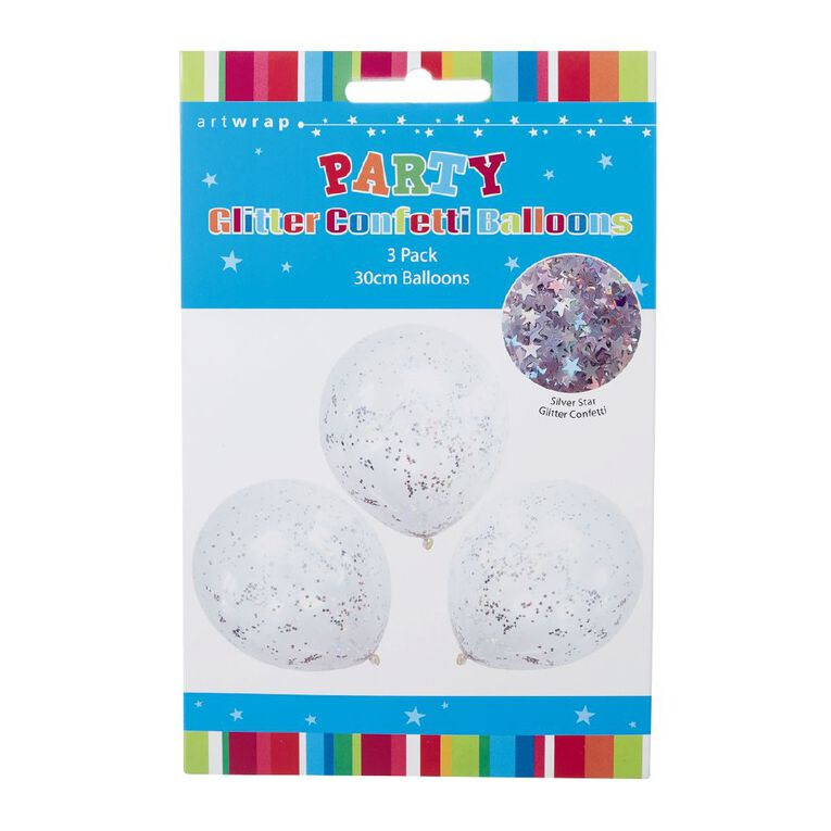 Artwrap Foil Confetti Balloon Silver Glitter 30cm 3 Pack, , hi-res