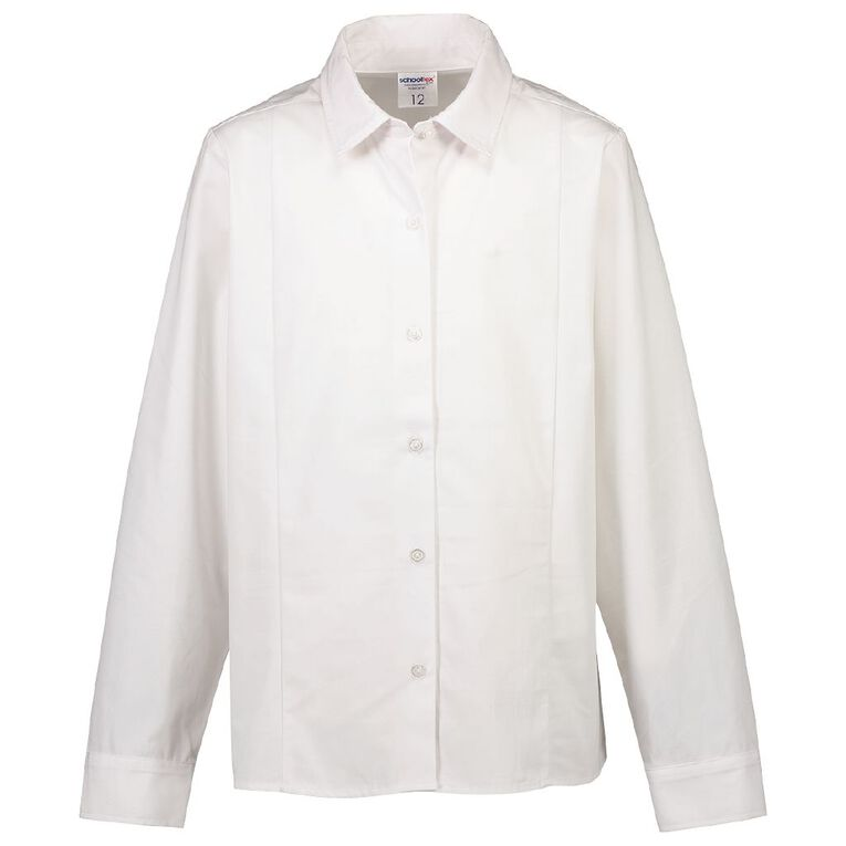 Schooltex Long Sleeve School Blouse with Straight Hem, White, hi-res