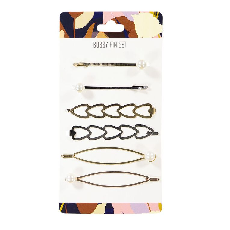 Dark Romance Ovals And Hearts Bobby Pin 6 Pack, , hi-res