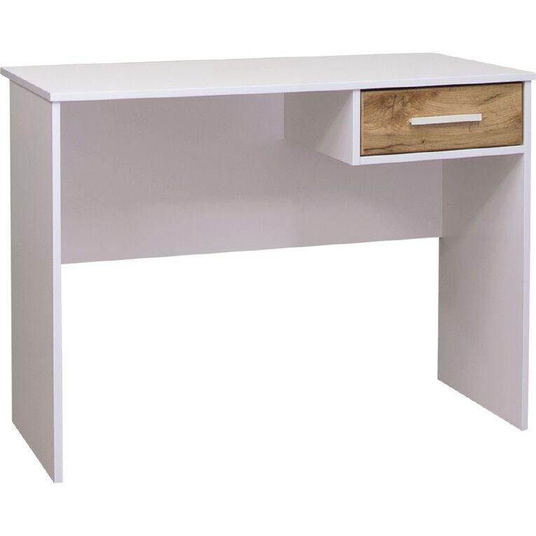 Living & Co Takiwira 1 Drawer Desk White, , hi-res