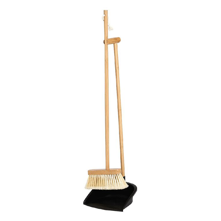 Living & Co Bamboo Broom with Dustpan Natural, , hi-res