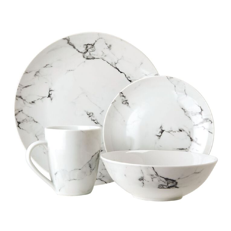 Living & Co Grey Marble 16 Piece Dinnerset, , hi-res