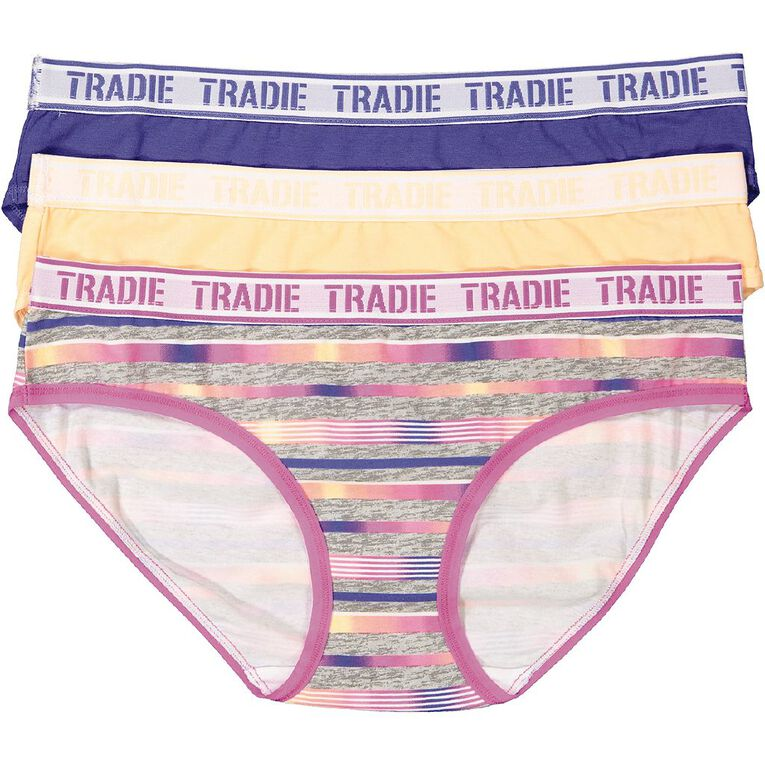 Tradie Women's Bikini Briefs 3 Pack, Grey, hi-res image number null