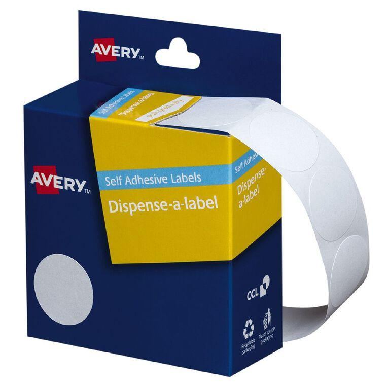 Avery White Dispenser Dot Stickers 24mm diameter 550 Labels Handwritable, , hi-res