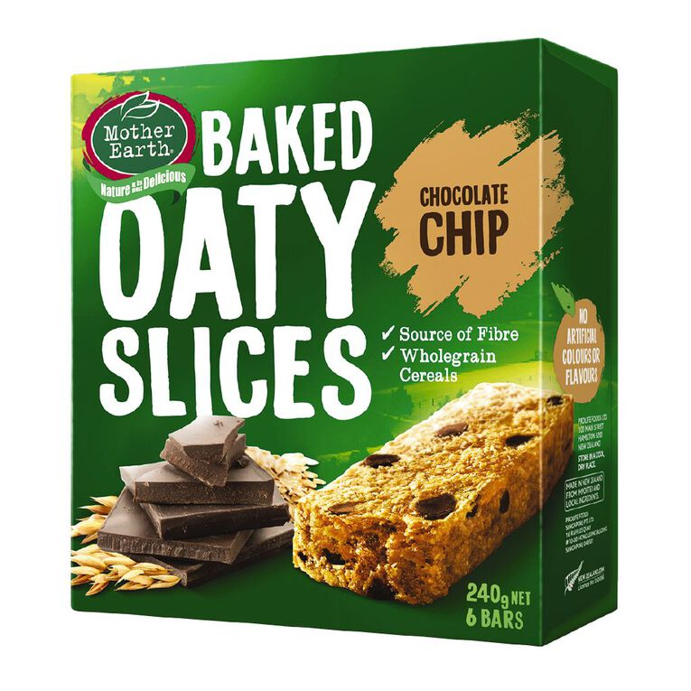 Mother Earth Baked Oaty Slice Choc Chip 240g, , hi-res