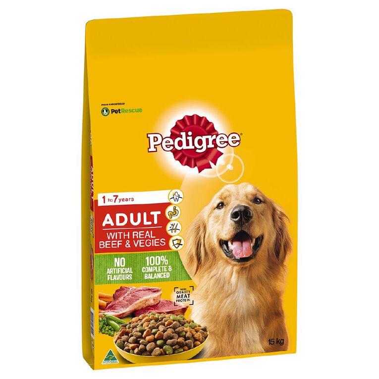 Pedigree Adult Dry Dog Food With Real Beef & Vegies 15kg Bag, , hi-res