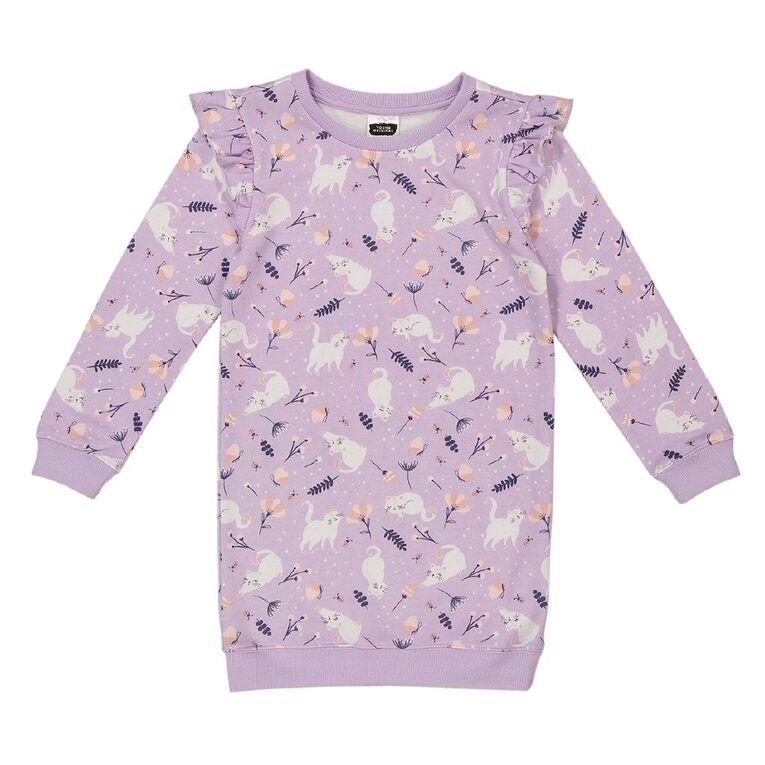 Young Original Flutter Sweater Dress, Purple Light, hi-res