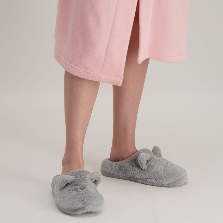H&H Cat Novelty Slippers, Grey, hi-res